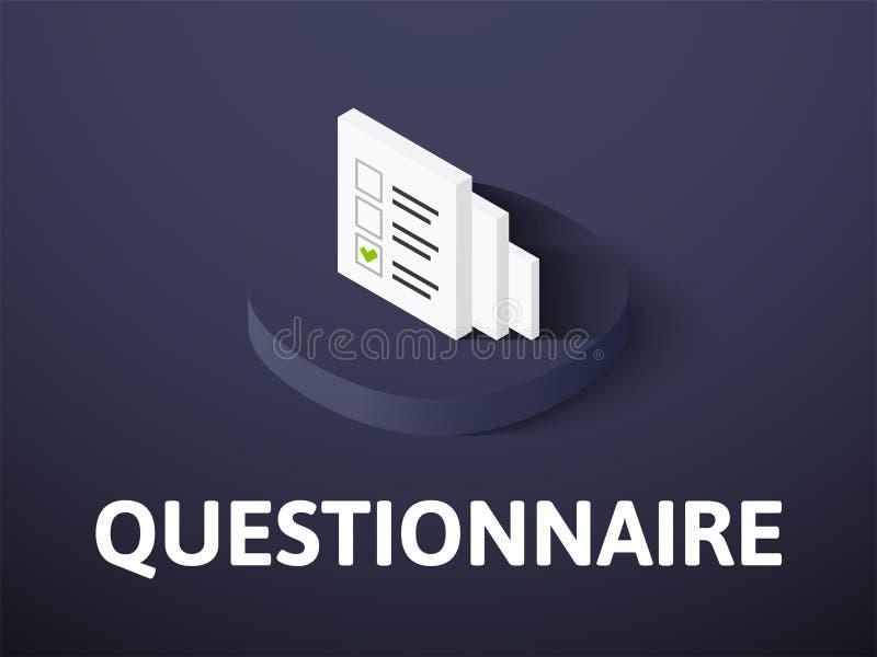 Icône isométrique de questionnaire, d'isolement sur le fond de couleur illustration stock