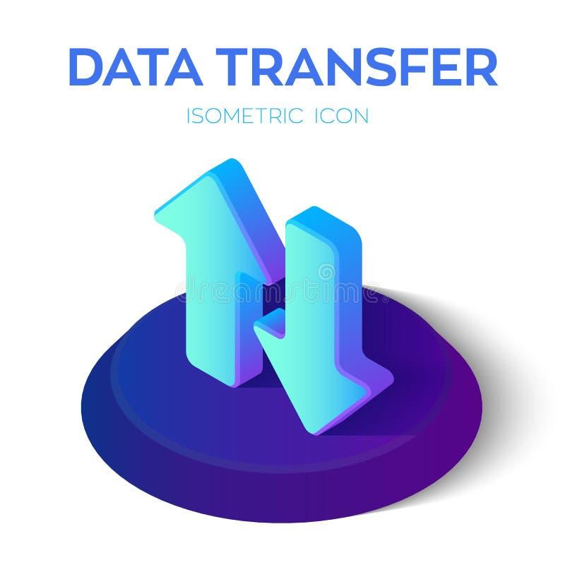 Icône isométrique de transfert des données flèches isométriques de téléchargement du téléchargement 3D Créé pour le mobile, Web,  illustration de vecteur