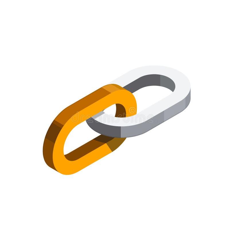 Icône isométrique de Web de lien hypertexte illustration stock