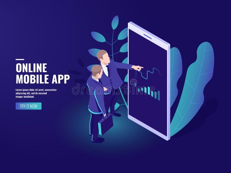 Icône isométrique en ligne marchande, deux hommes d'affaires parlant, Analytics d'affaires et stratégie de statistiques, graphiqu illustration stock