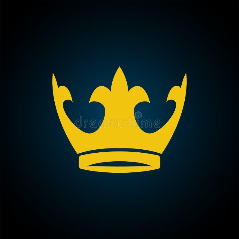 Icône jaune de couronne d'or Symbole de vecteur de roi, royal illustration stock