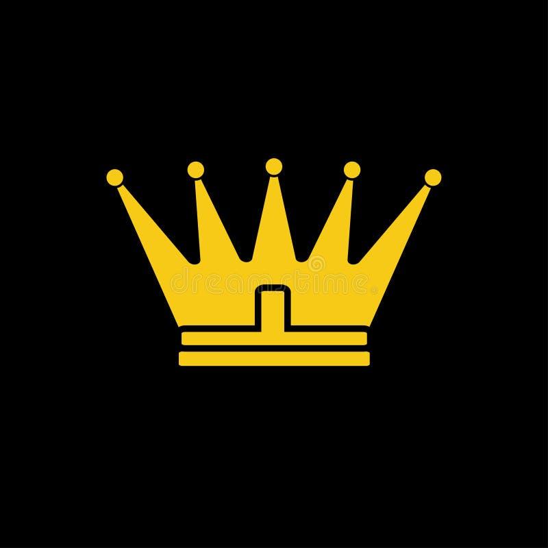 Icône jaune de couronne d'or Symbole de vecteur de roi, royal illustration de vecteur