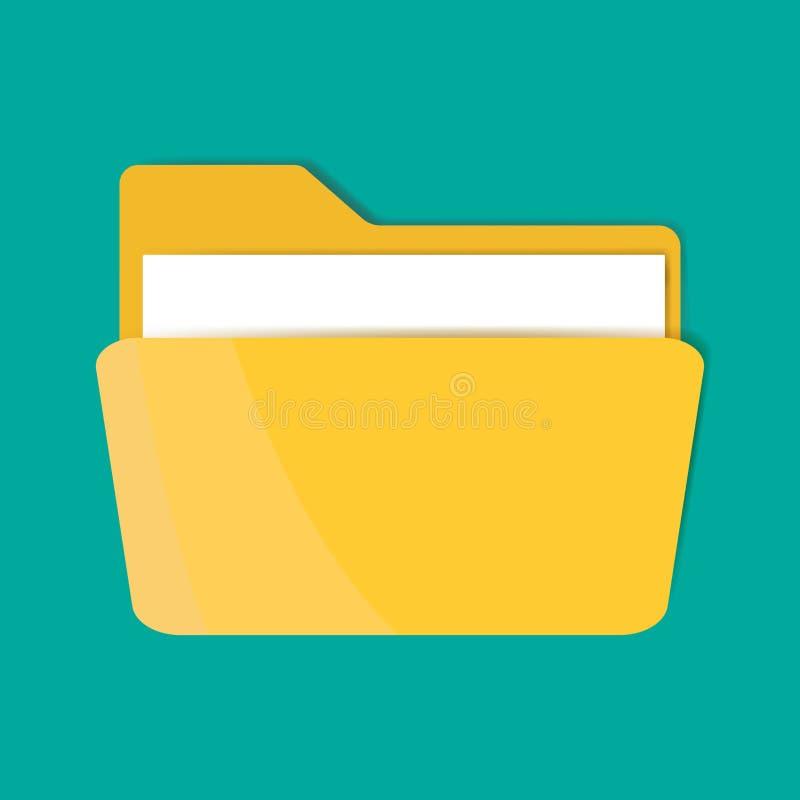 Icône jaune de dossier avec une feuille de papier Icône de dossier de vecteur illustration de vecteur