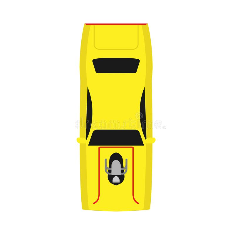 Icône jaune de vecteur de vue supérieure de voiture de course V?hicule moderne de sport de technique de l'automobile de conceptio illustration de vecteur