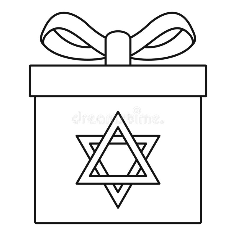 Icône juive de boîte-cadeau, style d'ensemble illustration de vecteur