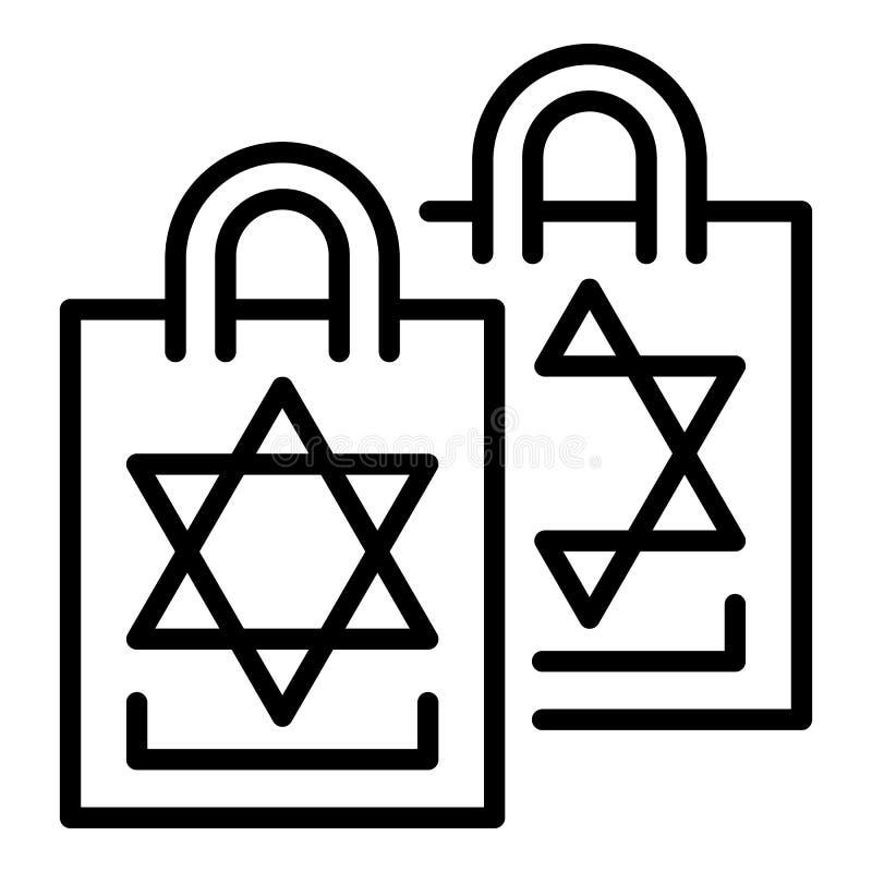 Icône juive de paquet, style d'ensemble illustration stock