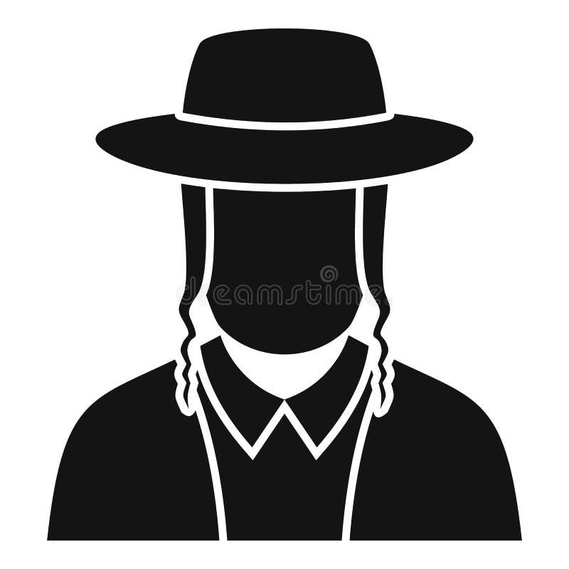 Icône juive de visage d'homme, style simple illustration libre de droits