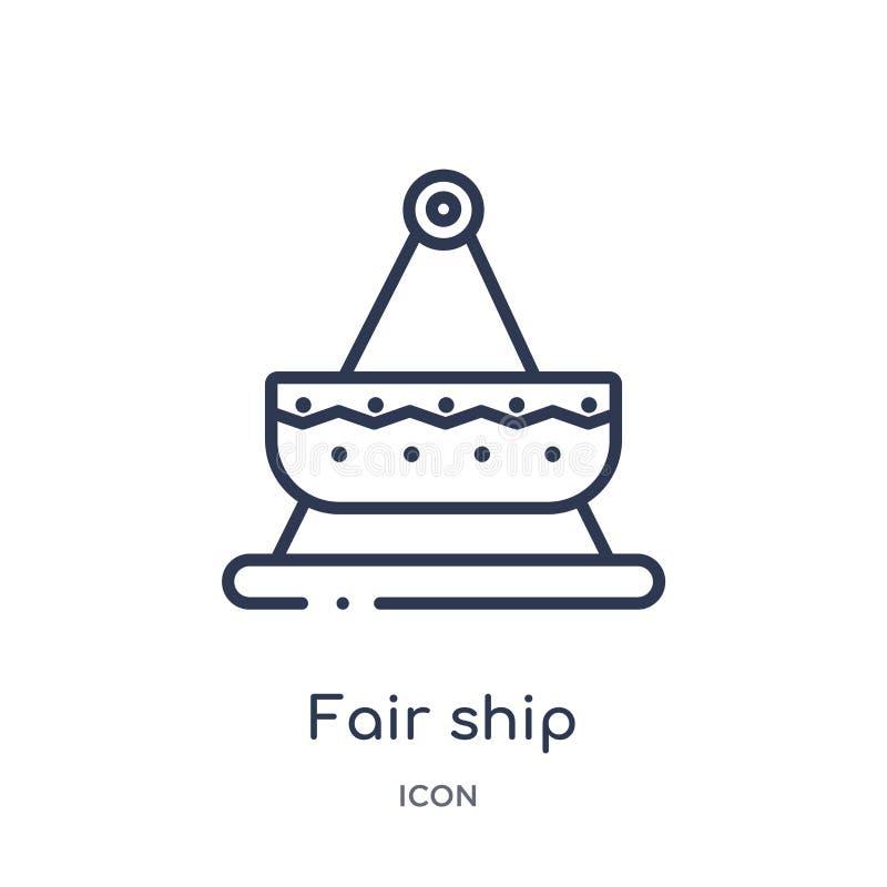Icône juste linéaire de bateau de collection d'ensemble de divertissement Ligne mince icône juste de bateau d'isolement sur le fo illustration libre de droits