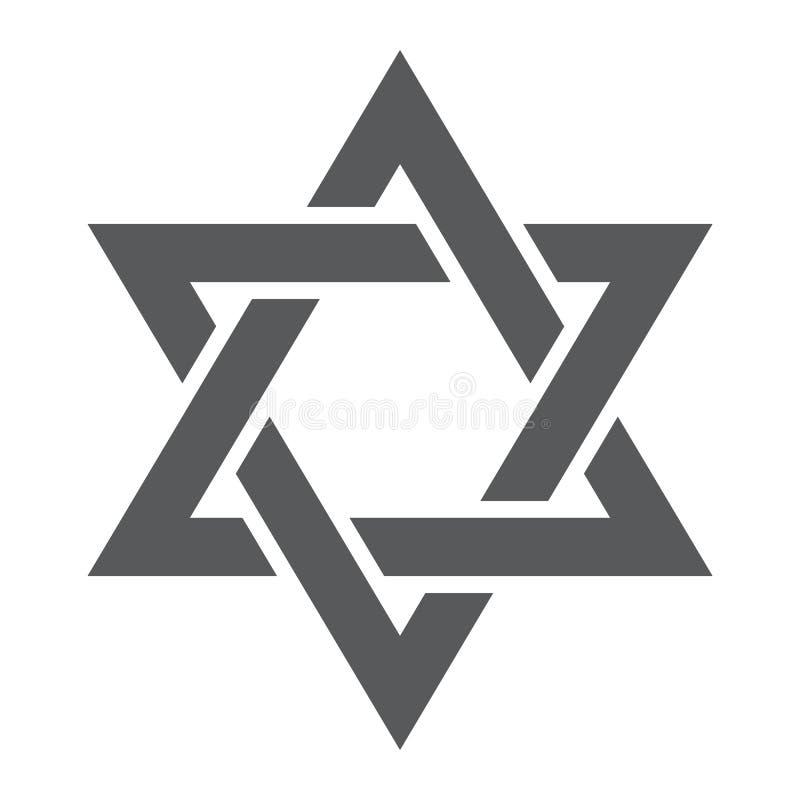 Icône, l'Israël et juif de glyph d'étoile de David, signe de hexagram, graphiques de vecteur, un modèle solide sur un fond blanc illustration libre de droits