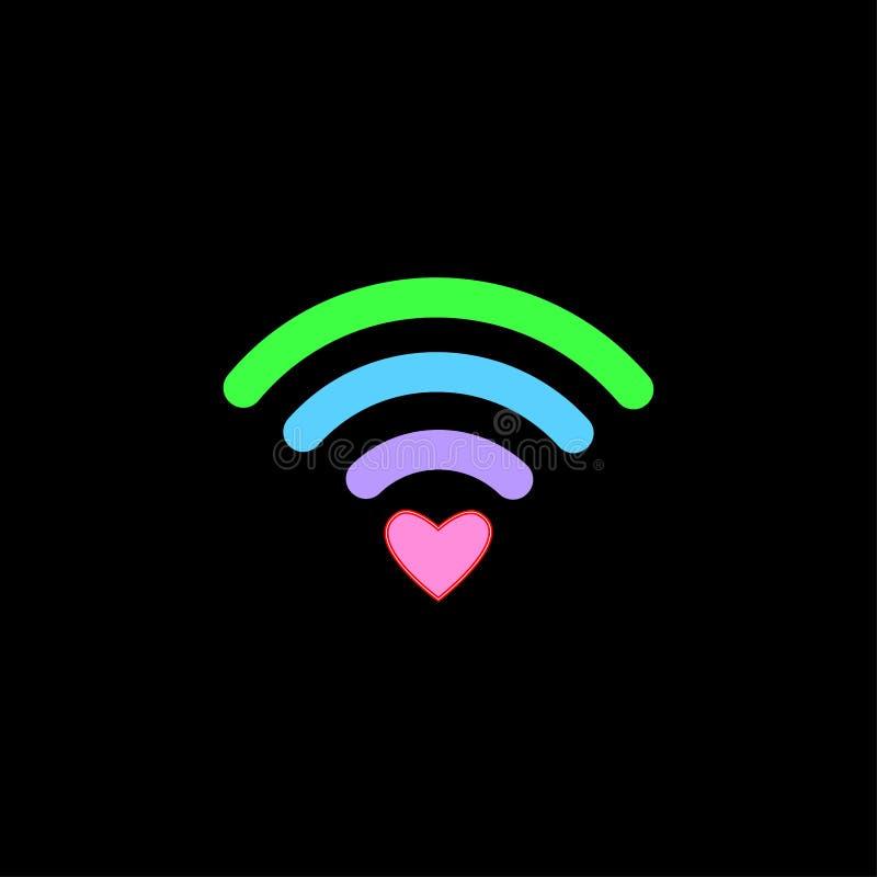 Icône libre colorée de WiFi avec le signe de coeur d'isolement sur le fond noir Concept sans fil de connexion internet Logo de ré illustration libre de droits