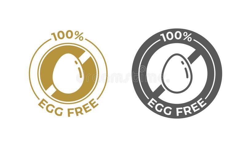 Icône libre de vecteur de nourriture d'oeufs Paquet de nourriture ingrédients libres d'oeufs de 100 pour cent, label de l'informa illustration libre de droits