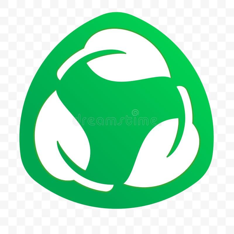 Icône libre en plastique recyclable biodégradable de vecteur de label de paquet Logo de empaquetage recyclable d'Eco bio et dégra illustration stock