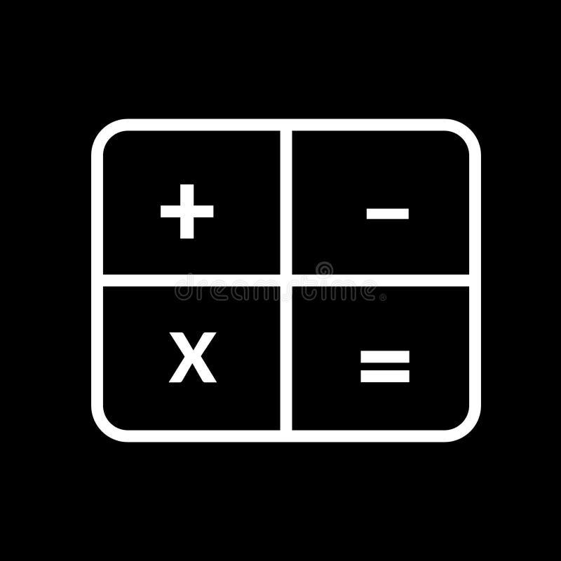 Icône linéaire blanche de symbole d'illustration de vecteur de calculatrice de calculatrice illustration libre de droits