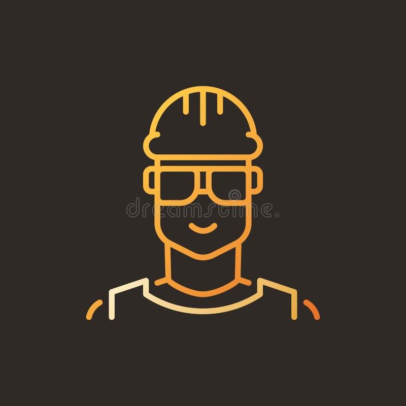 Icône linéaire créative de vecteur masculin de travailleur - symbole de constructeur illustration libre de droits