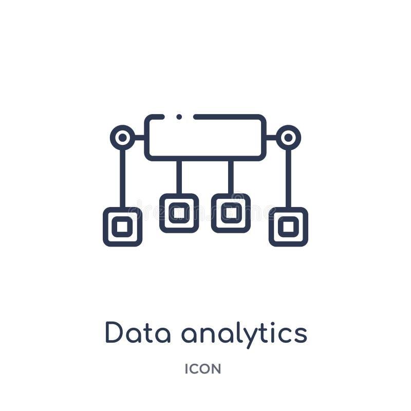 Icône linéaire d'écoulement d'analytics de données de collection d'ensemble d'affaires et d'analytics Ligne mince vecteur d'écoul illustration libre de droits