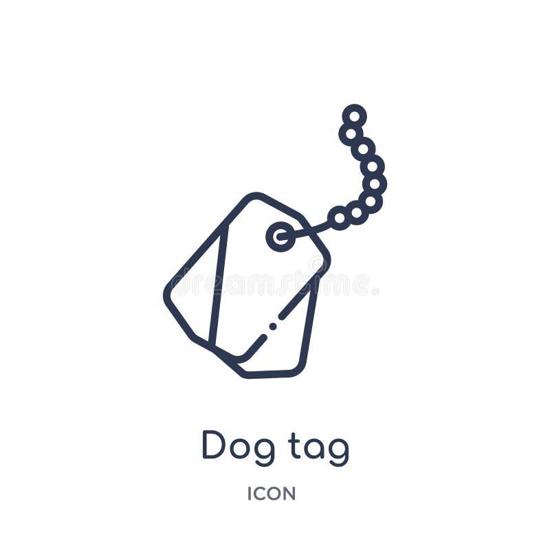 Icône linéaire d'étiquette de chien de collection d'ensemble d'armée et de guerre Ligne mince vecteur d'étiquette de chien d'isol illustration de vecteur