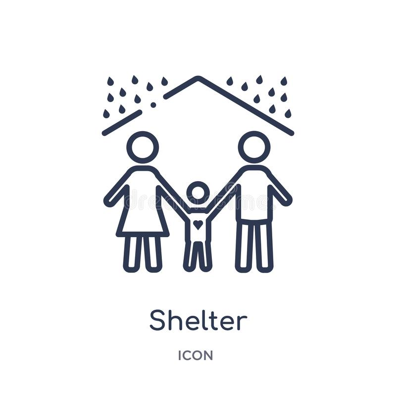 Icône linéaire d'abri de collection d'ensemble de charité Ligne mince vecteur d'abri d'isolement sur le fond blanc abri à la mode illustration stock