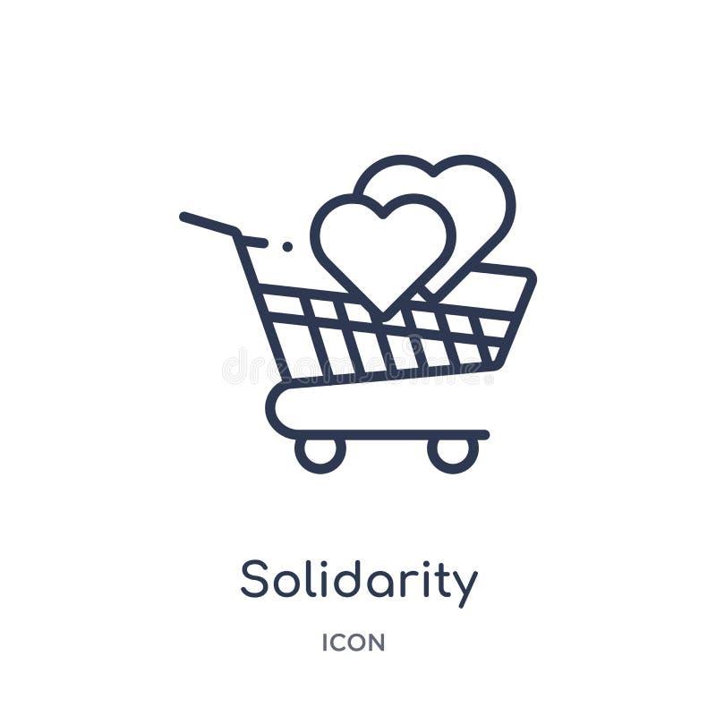 Icône linéaire d'achat de solidarité de collection d'ensemble de commerce Ligne mince icône d'achat de solidarité d'isolement sur illustration stock