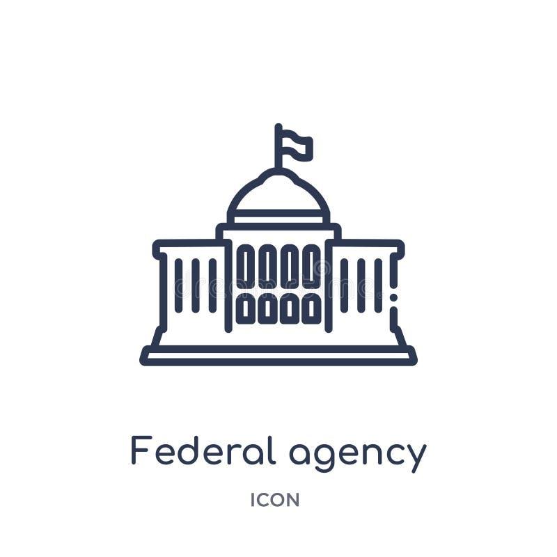 Icône linéaire d'agence fédérale de collection d'ensemble d'armée et de guerre Ligne mince vecteur d'agence fédérale d'isolement  illustration de vecteur