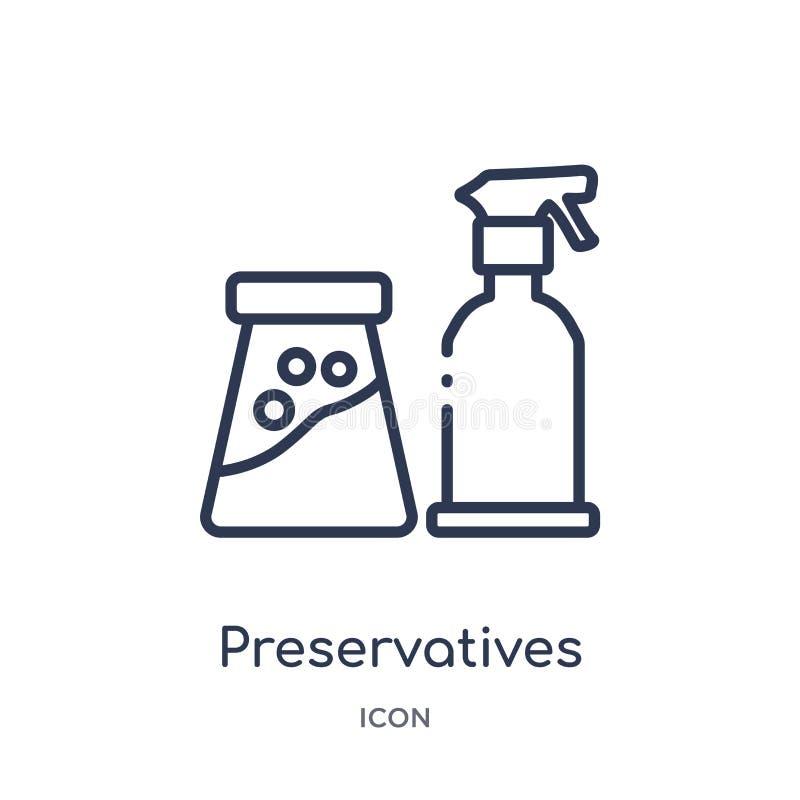 Icône linéaire d'agents de conservation de la collection de nettoyage d'ensemble La ligne mince agents de conservation dirigent d illustration stock