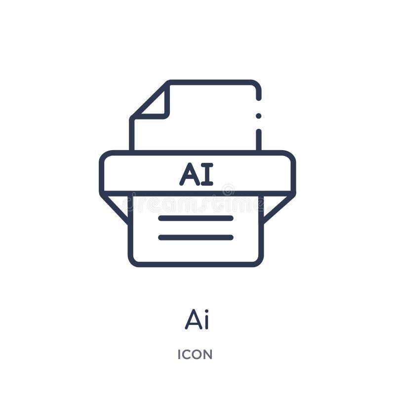 Icône linéaire d'AI de collection d'ensemble de type de fichier Ligne mince vecteur d'AI d'isolement sur le fond blanc illustrati illustration de vecteur