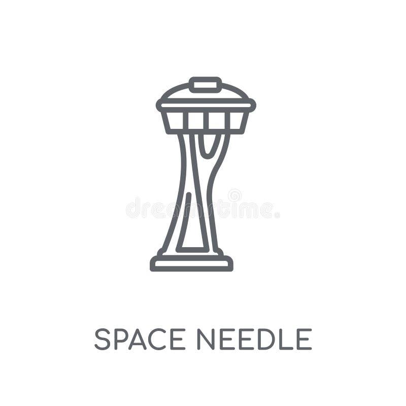 Icône linéaire d'aiguille de l'espace Conce moderne de logo d'aiguille de l'espace d'ensemble illustration de vecteur