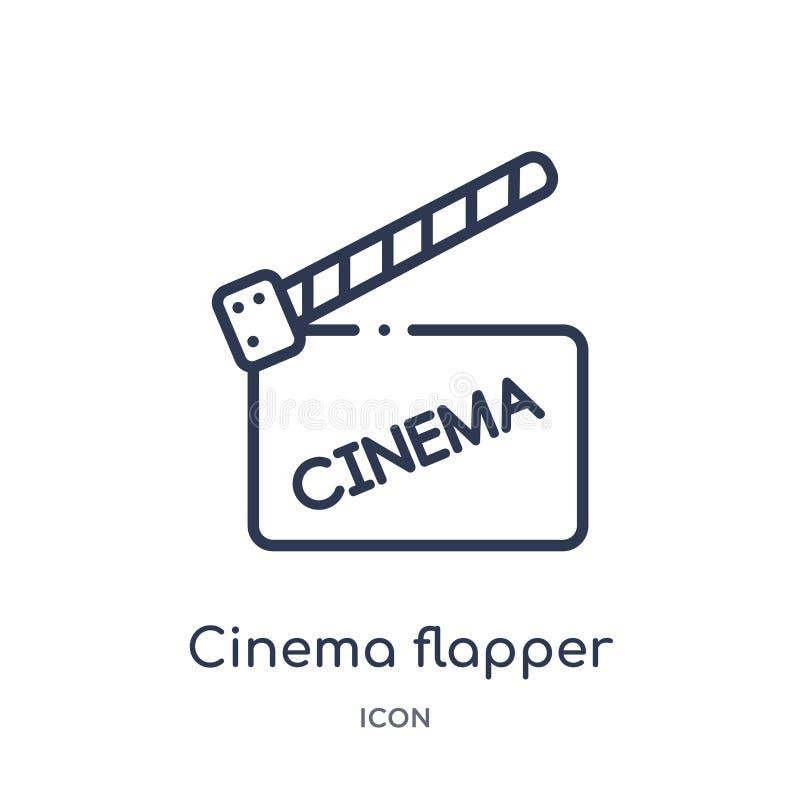 Icône linéaire d'aileron de cinéma de collection d'ensemble de cinéma Ligne mince vecteur d'aileron de cinéma d'isolement sur le  illustration libre de droits