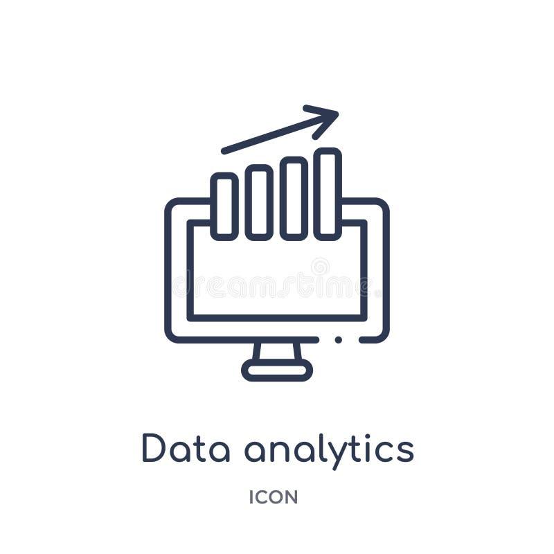 Icône linéaire d'analytics de données de collection d'ensemble d'affaires et d'analytics Ligne mince vecteur d'analytics de donné illustration libre de droits