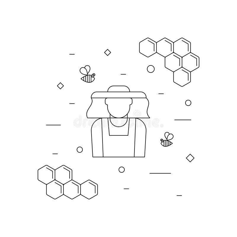 Icône linéaire d'apiculteur et d'abeilles illustration libre de droits