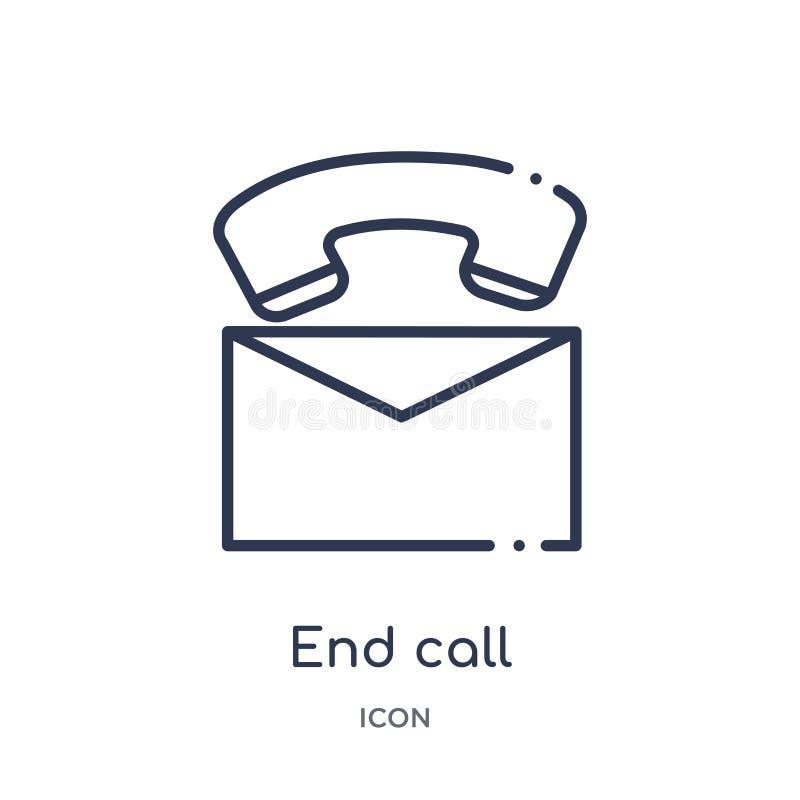 Icône linéaire d'appel de fin de collection d'ensemble de message Ligne mince icône d'appel de fin d'isolement sur le fond blanc  illustration libre de droits