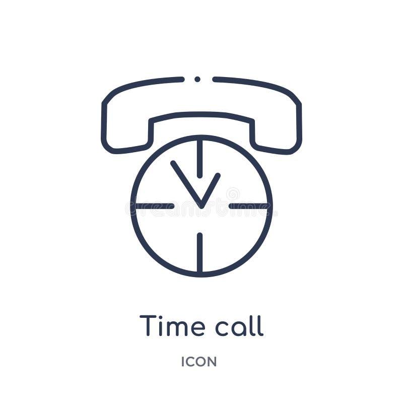 Icône linéaire d'appel de temps de collection d'ensemble de Comunation Ligne mince vecteur d'appel de temps d'isolement sur le fo illustration stock