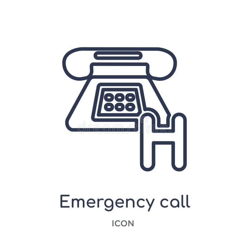 Icône linéaire d'appel d'urgence de la collection médicale d'ensemble Ligne mince icône d'appel d'urgence d'isolement sur le fond illustration de vecteur