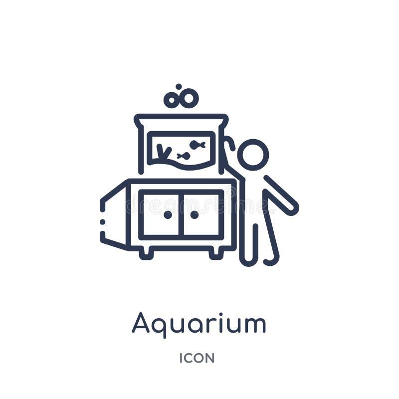 Icône linéaire d'aquarium d'activité et de collection d'ensemble de passe-temps Ligne mince vecteur d'aquarium d'isolement sur le illustration de vecteur
