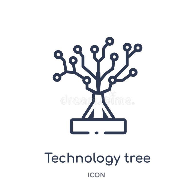 Icône linéaire d'arbre de technologie d'intellegence artificiel et de future collection d'ensemble de technologie Ligne mince arb illustration libre de droits