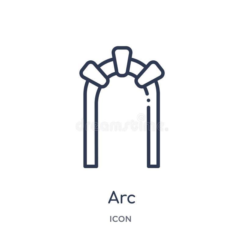 Icône linéaire d'arc de collection d'ensemble d'histoire Ligne mince icône d'arc d'isolement sur le fond blanc illustration à la  illustration de vecteur