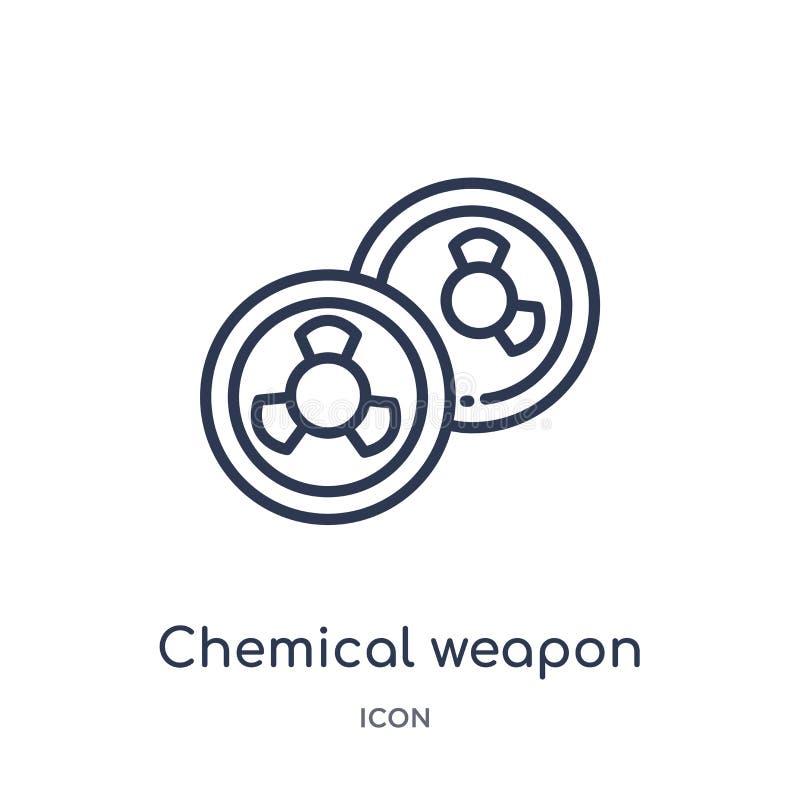 Icône linéaire d'arme chimique de collection d'ensemble d'industrie Ligne mince icône d'arme chimique d'isolement sur le fond bla illustration de vecteur