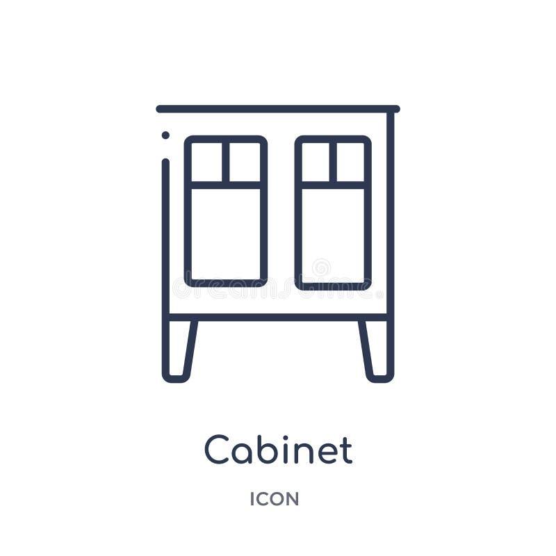 Icône linéaire d'armoire de collection d'ensemble de meubles Ligne mince icône d'armoire d'isolement sur le fond blanc armoire à  illustration libre de droits