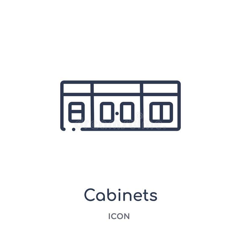 Icône linéaire d'armoires de collection d'ensemble de meubles et de ménage Ligne mince icône d'armoires d'isolement sur le fond b illustration de vecteur