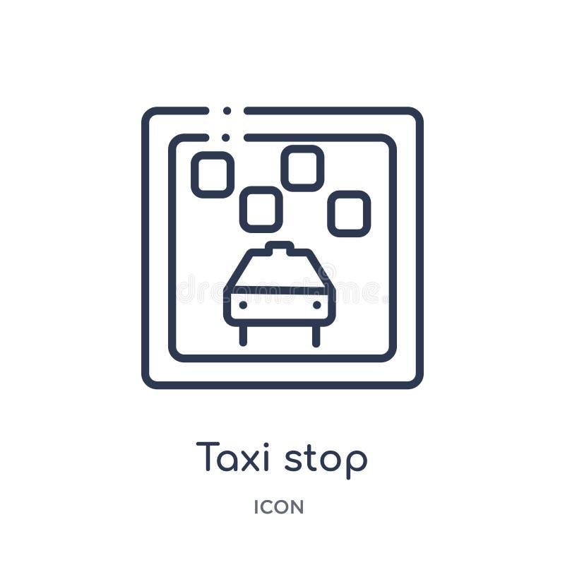 Icône linéaire d'arrêt de taxi collection de cartes et de drapeaux d'ensemble Ligne mince icône d'arrêt de taxi d'isolement sur l illustration de vecteur