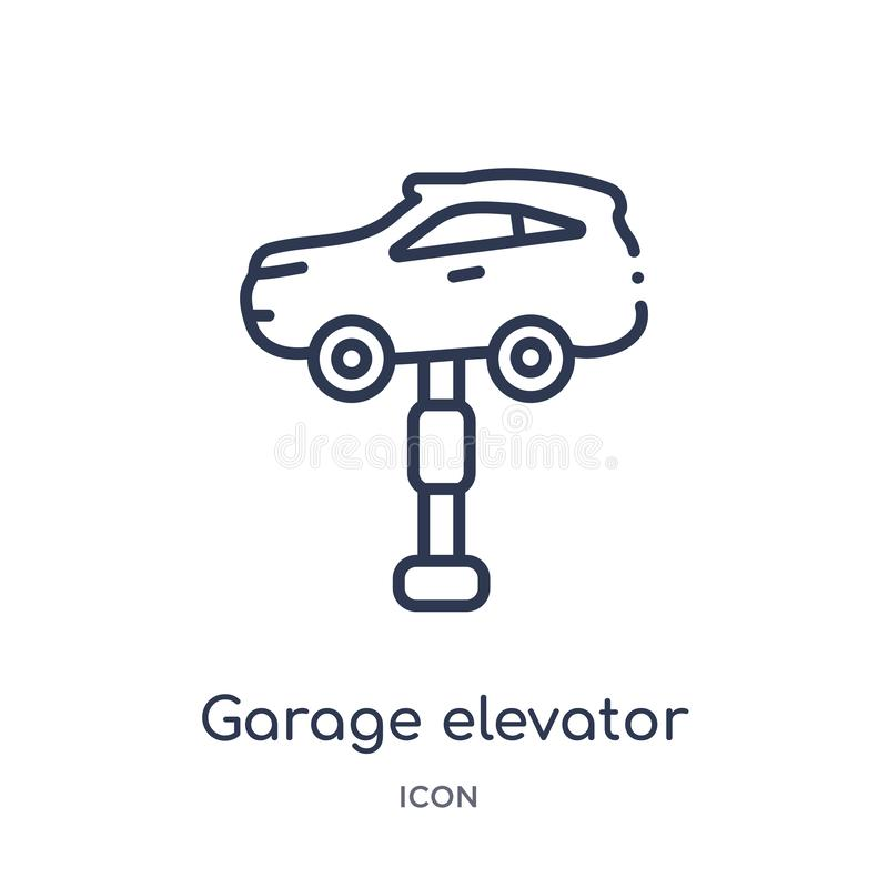 Icône linéaire d'ascenseur de garage de collection d'ensemble de Mechanicons Ligne mince icône d'ascenseur de garage d'isolement  illustration libre de droits