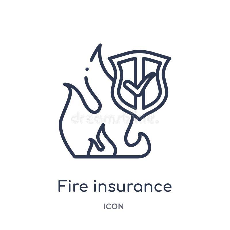 Icône linéaire d'assurance-incendie incendie de collection d'ensemble d'assurance Ligne mince icône d'assurance-incendie incendie illustration libre de droits