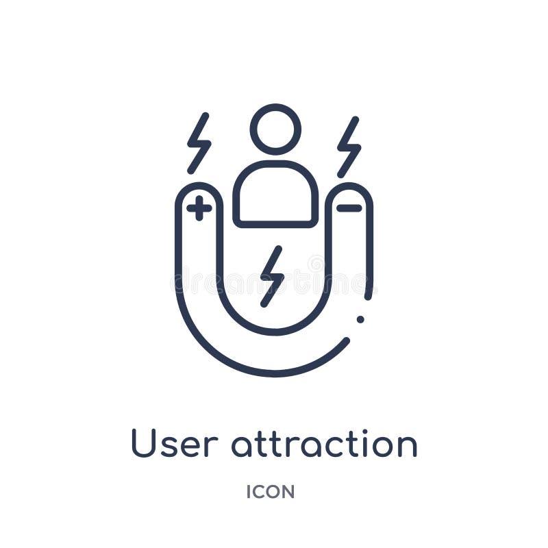 Icône linéaire d'attraction d'utilisateur de collection d'ensemble général Ligne mince icône d'attraction d'utilisateur d'isoleme illustration libre de droits