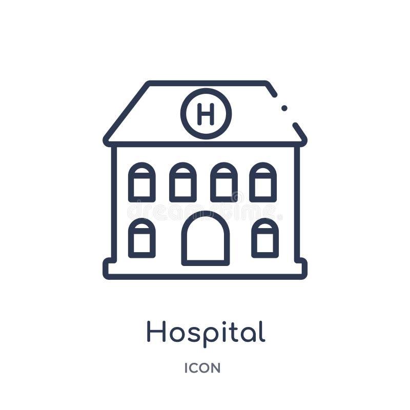 Icône linéaire d'avant de bâtiment d'hôpital de la collection médicale d'ensemble Ligne mince icône d'avant de bâtiment d'hôpital illustration stock