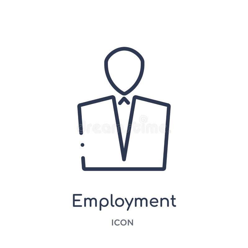 Icône linéaire d'emploi de collection d'ensemble de loi et de justice Ligne mince icône d'emploi d'isolement sur le fond blanc em illustration stock