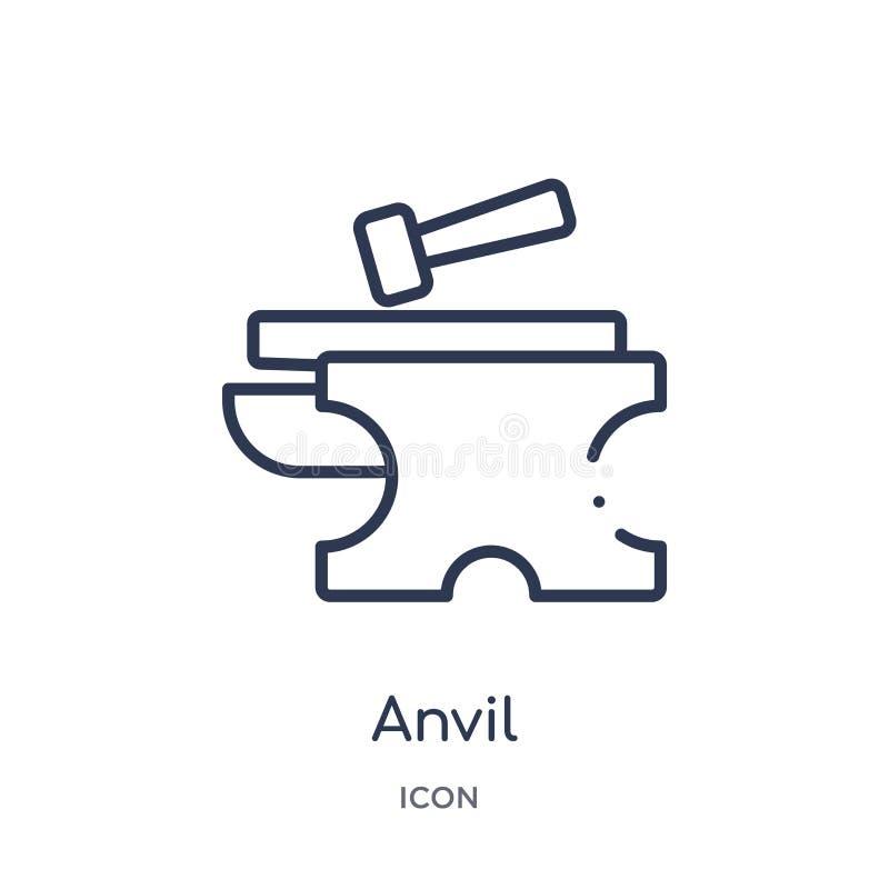 Icône linéaire d'enclume de collection d'ensemble d'outils de construction Ligne mince vecteur d'enclume d'isolement sur le fond  illustration libre de droits