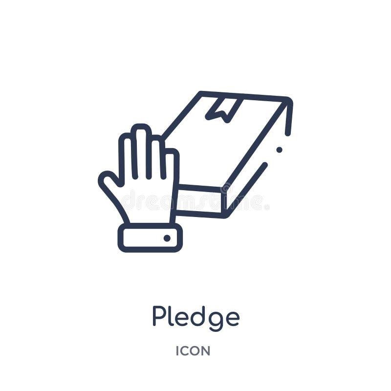 Icône linéaire d'engagement de collection d'ensemble de Crowdfunding Ligne mince vecteur d'engagement d'isolement sur le fond bla illustration stock