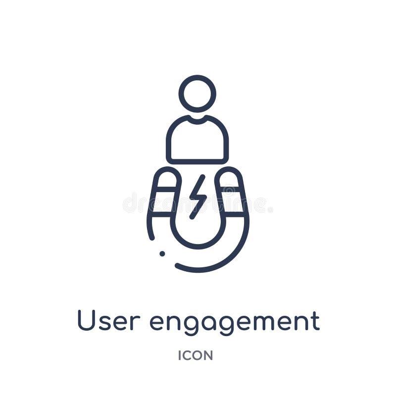 Icône linéaire d'engagement d'utilisateur de collection d'ensemble général Ligne mince icône d'engagement d'utilisateur d'isoleme illustration libre de droits