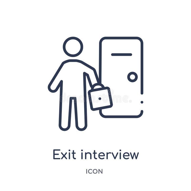 Icône linéaire d'entrevue de sortie de collection d'ensemble de ressources humaines Ligne mince icône d'entrevue de sortie d'isol illustration de vecteur