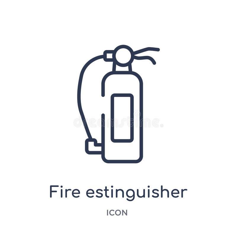 Icône linéaire d'estinguisher du feu de collection d'ensemble général Ligne mince icône d'estinguisher du feu d'isolement sur le  illustration libre de droits