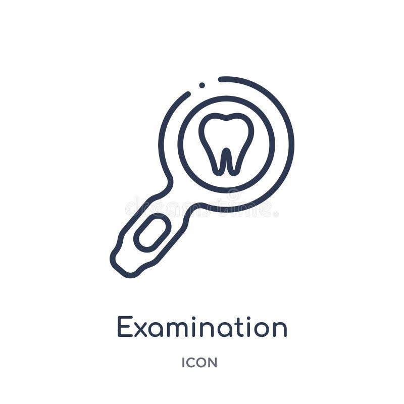 Icône linéaire d'examen de collection d'ensemble de dentiste Ligne mince icône d'examen d'isolement sur le fond blanc inspection illustration de vecteur